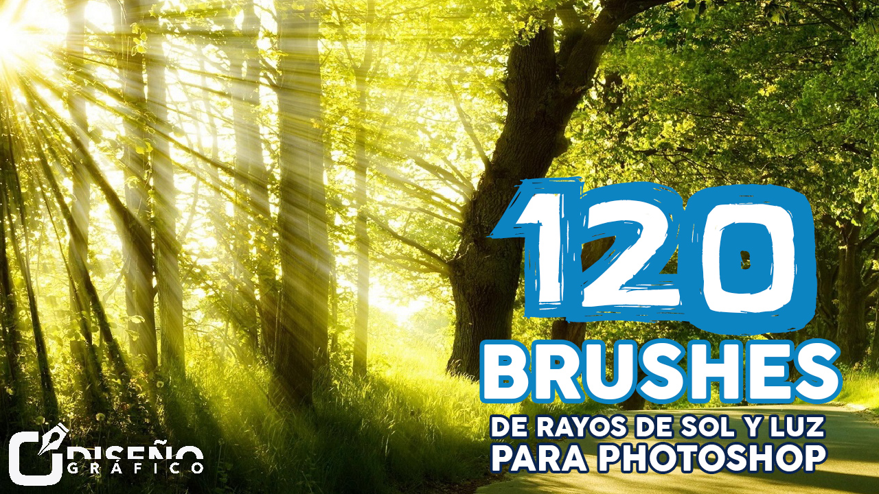 120 Brushes de Rayos de Sol y Luz para Photoshop