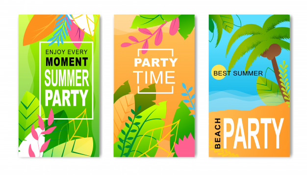 flyers publicitarios de Fiesta de verano