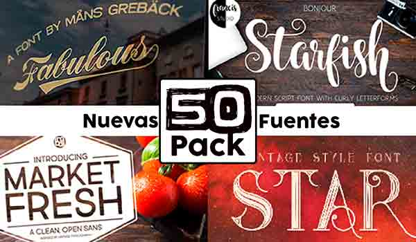 Pack de 50 Tipos de Fuente para Photoshop